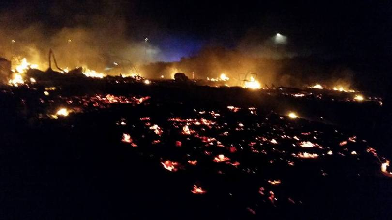 Photo of fire in the Calais Refugee Camp